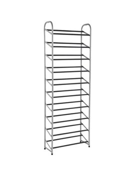 Mainstays™ 10 Tier Narrow Shoe Rack, Versatile Design For All Shoe Types Powder Coating Black+Silver by Mainstays