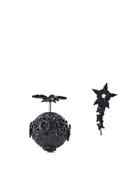 Christian Dior Crystal Bee Star Tribal Earrings Black by Christian Dior