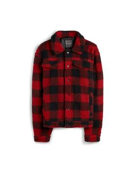 Red Check Teddy Fleece Jacket by Primark