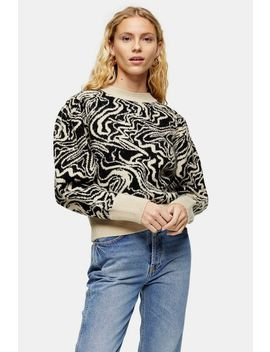 Knitted Painted Squiggle Jumper by Topshop