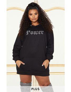 Plus Black Oversized Diamante Power Slogan Hoodie Dress by Prettylittlething