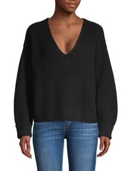 Deep V Neck Cotton Sweater by French Connection