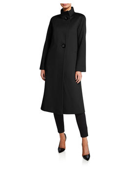 Stand Collar 2 Button Wool Coat by Fleurette
