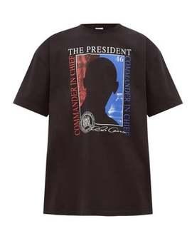President Print Cotton T Shirt by Vetements