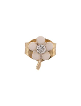 14kt Yellow Gold, Pink Enamel And Diamond Flower Stud by Alison Lou