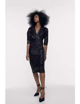 Draped Sequin Dress by Zara