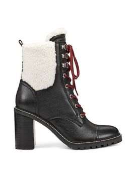 Phaedra Casual Booties   Black Leather/Cream Faux Fur by Nine West