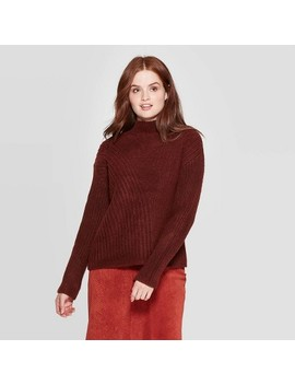 Women's Long Sleeve Mock Turtleneck Stitch Mix Pullover Sweater   Prologue™ by Prologue