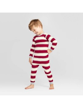 Burt's Bees Baby® Toddler Rugby Peace Striped Pajama Set   Red by Shop This Collection