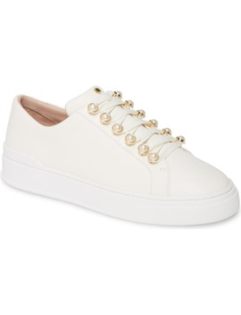 Excelsa Imitation Pearl Embellished Lace Up Sneaker by Stuart Weitzman