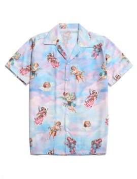 Hot Sale Paradise Floral Angel Print Beach Shirt   Multi L by Zaful