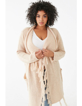 Plus Size Fringe Shawl Cardigan by Forever 21