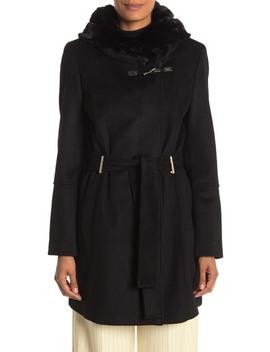 Faux Fur Hooded Wool Blend Jacket by Calvin Klein