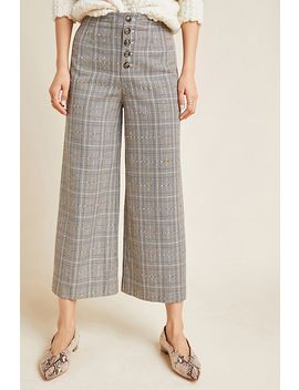 Roma Plaid Chenille Trousers by Anthropologie