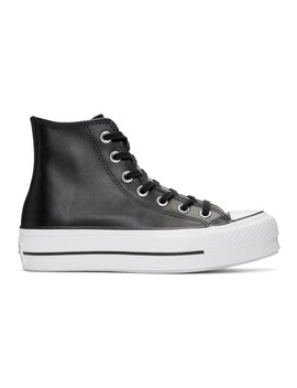 Black Leather Chuck Taylor All Star Lift Clean High Sneakers by Converse