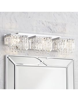 "Possini Euro Design Modern Wall Light Chrome Crystal 25 3/4"" Vanity Fixture For Bathroom Over Mirror by Possini Euro Design"