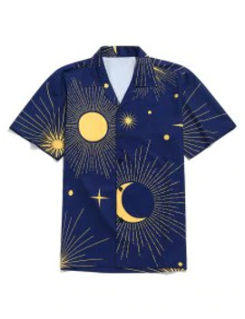 Hot Sale Sparkly Sun And Moon Print Short Sleeves Shirt   Navy Blue Xl by Zaful