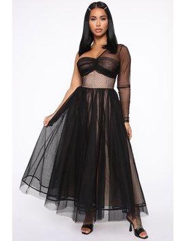Classy Go To Midi Dress   Black/Nude by Fashion Nova