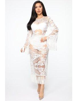 I'm Your Angel Fringe Midi Dress   White by Fashion Nova
