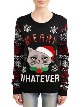 No Boundaries Juniors' Merry Whatever Christmas Sweater by No Boundaries