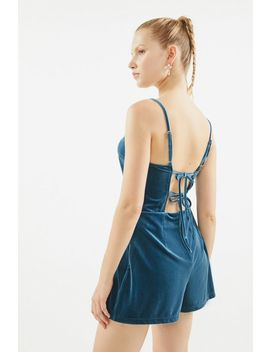 Uo Velvet Strap Back Romper by Urban Outfitters