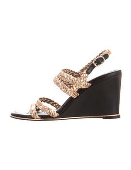 Cc Braided Leather Wedge Sandals by Chanel
