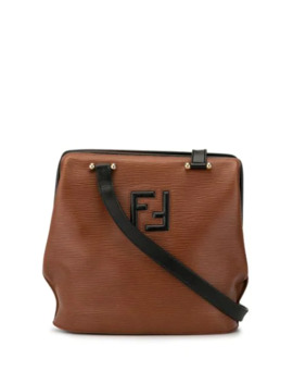 Textured Logo Shoulder Bag by Fendi Pre Owned