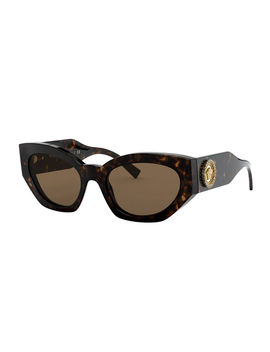 Chunky Cat Eye Sunglasses W/ Crystal Embellished Medusa Temples by Versace