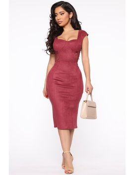Modest Queen Suede Midi Dress   Wine by Fashion Nova