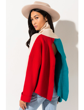 Learn To Love Each Other Color Block Turtleneck Sweater by Akira