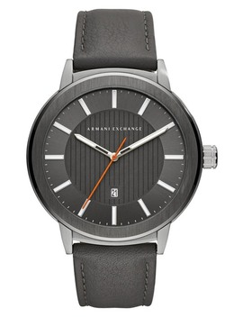 Men's Round Leather Strap Watch, 46mm by Ax Armani Exchange