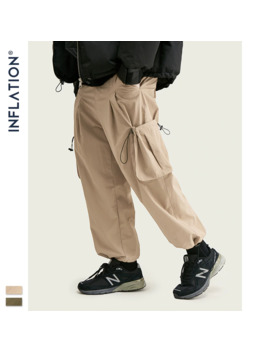 Inflation Streetwear Solid Color Side Pocket Joggers Men Hip Hop Casual Pants With Drawstring Windproof Trousers Men 93448 W by Ali Express.Com