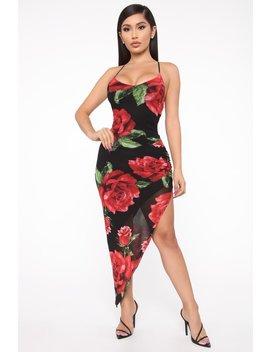 For Real Midi Dress   Black/Red by Fashion Nova