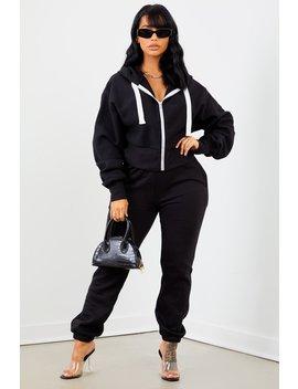 Black Solid Sweatpants by Sorella