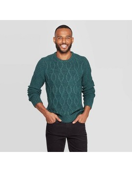 Men's Standard Fit Cable Crew Neck Sweater   Goodfellow & Co™ by Goodfellow & Co