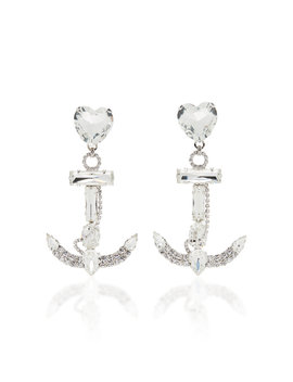 Crystal Anchor Earrings by Alessandra Rich