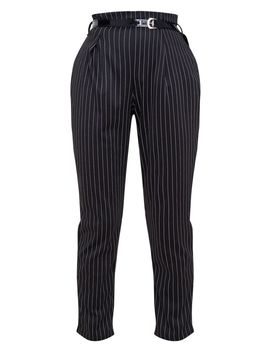 Black Pinstripe Belted Skinny Trousers by Prettylittlething
