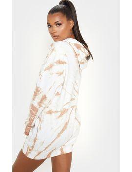 Sand Tie Dye Oversized Hoodie Dress by Prettylittlething