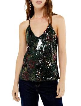 Dark Floral Sequin Camisole Top by Topshop
