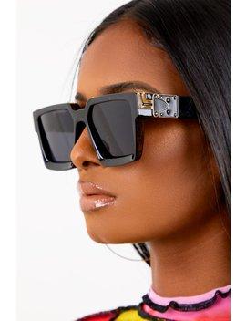 Black Square Retro Lens Sunglasses by Sorella