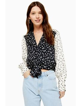 Petite Mix And Match Tie Front Blouse by Topshop