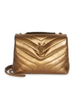 Small Loulou Metallic Matelassé Leather Shoulder Bag by Saint Laurent