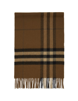 Brown Cashmere Giant Check Scarf by Burberry