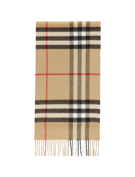 Beige Cashmere Mega Check Scarf by Burberry