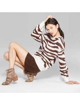Women's Animal Print Long Sleeve Crewneck Oversized Sweater   Wild Fable™ Brown by Wild Fable