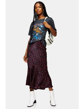 Black Ditsy Floral Flounce Midi Skirt by Topshop