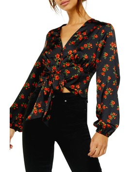 Floral Tie Front Long Sleeve Blouse by Topshop