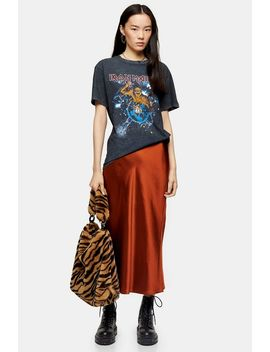 Rust Split Satin Bias Midi Skirt by Topshop