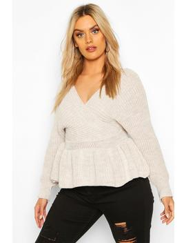 Plus Knitted Wrap Peplum Jumper by Boohoo