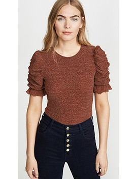 Sparkly Ruched Sleeve Top by Moon River